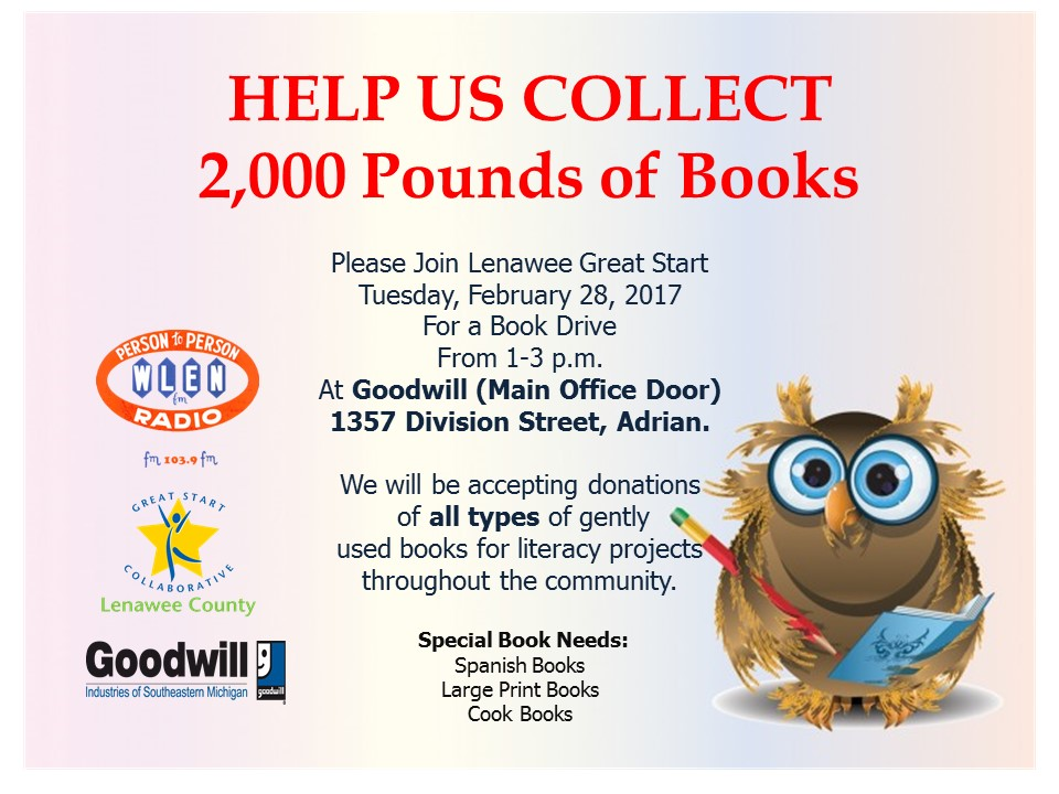 lenawee county book drive lenawee great start. Black Bedroom Furniture Sets. Home Design Ideas