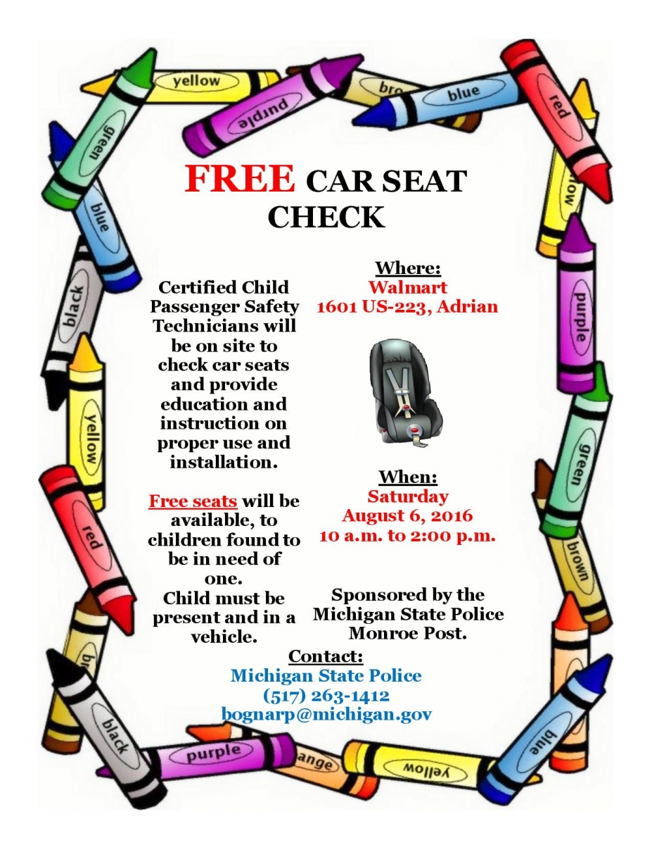 Free Seats Will Be Available To Children Found In Need Of One Child Must Present And A Vehicle